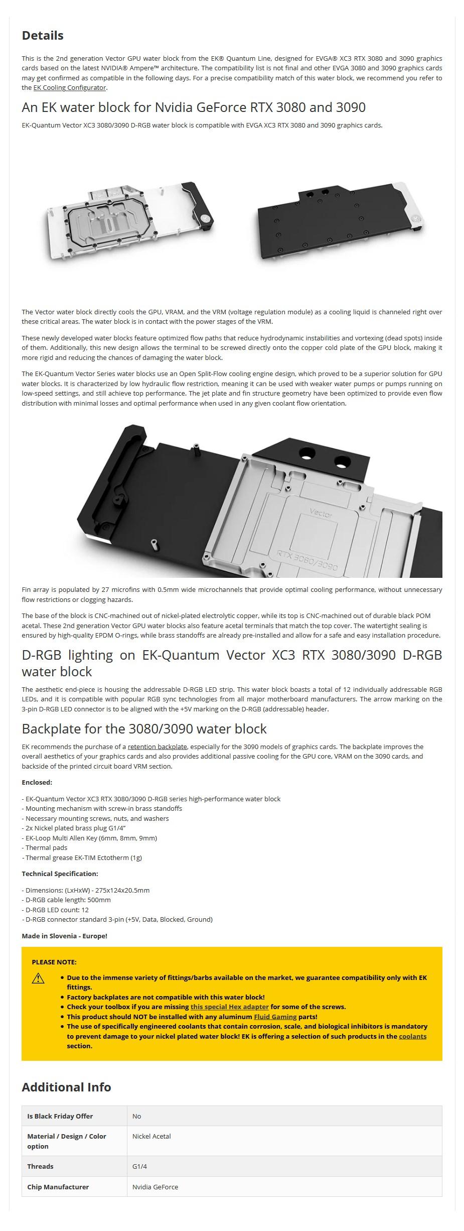EKWB EK-Quantum Vector D-RGB XC3 RTX 3080/3090 GPU Water Block - Nickel + Acetal - Overview 1