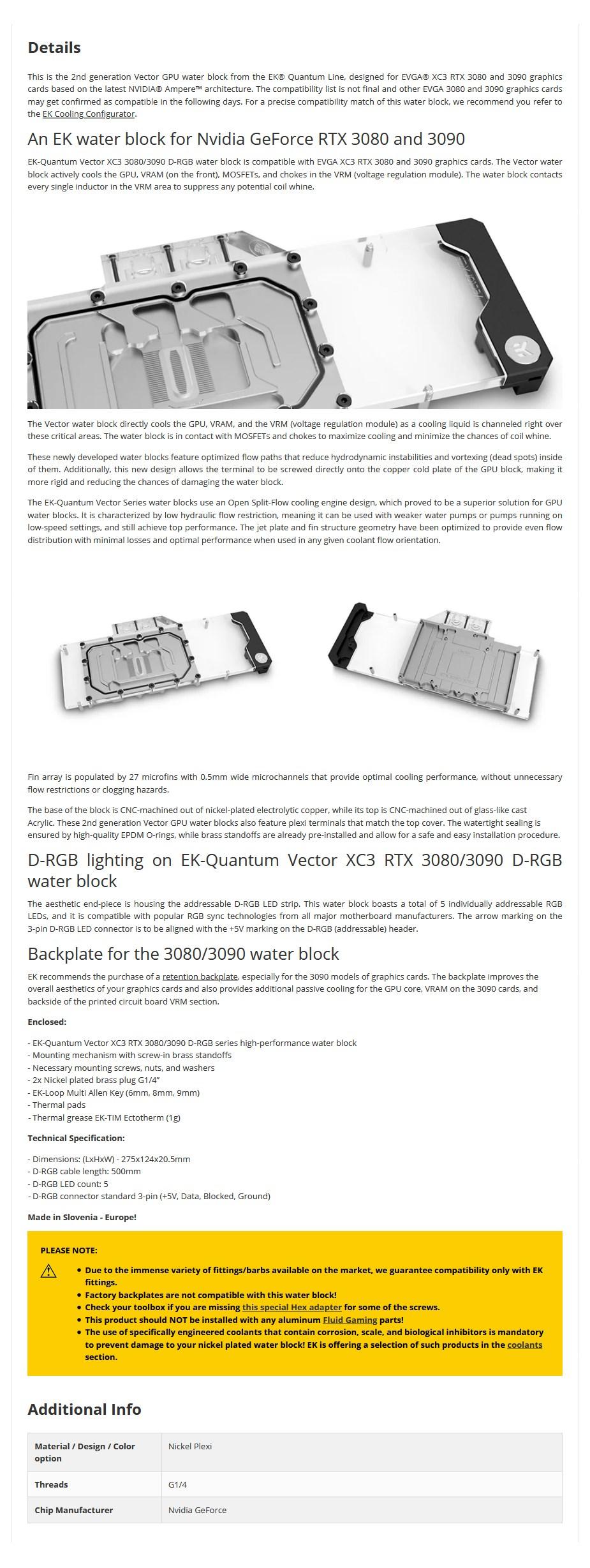 EKWB EK-Quantum Vector D-RGB XC3 RTX 3080/3090 GPU Water Block - Nickel + Plexi - Overview 1