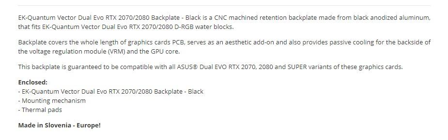EKWB EK-Quantum Vector Dual Evo RTX 2070/2080 Backplate - Black - Overview 1
