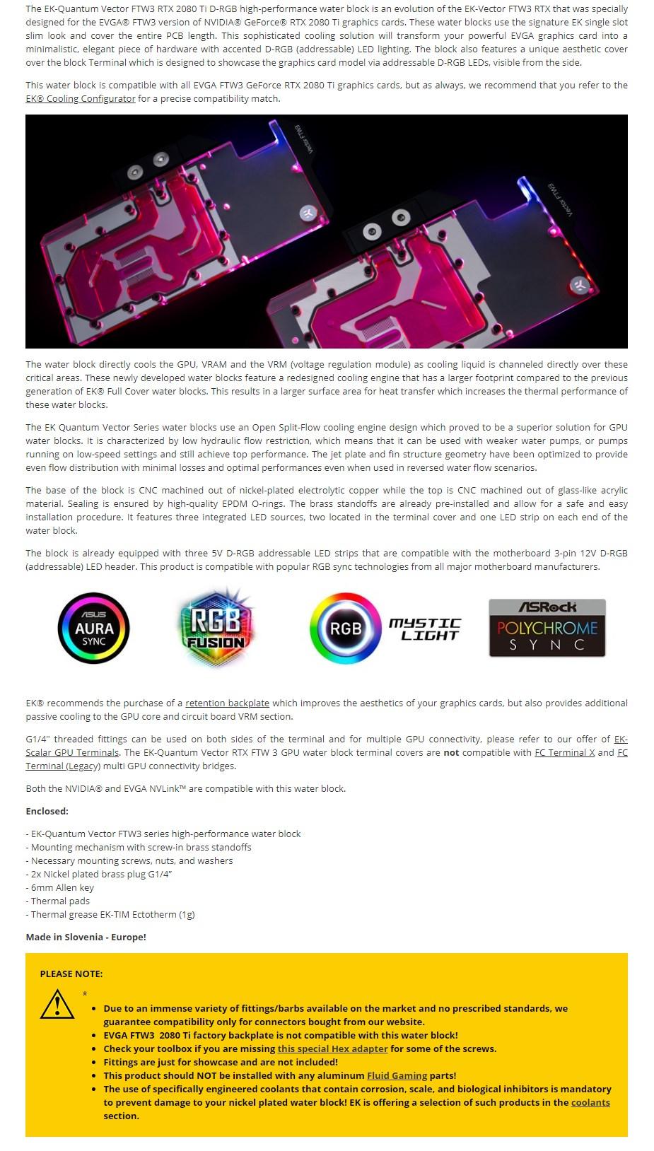 EKWB EK-Quantum Vector FTW3 RTX 2080 Ti D-RGB - Nickel + Plexi GPU Water Block - Overview 1