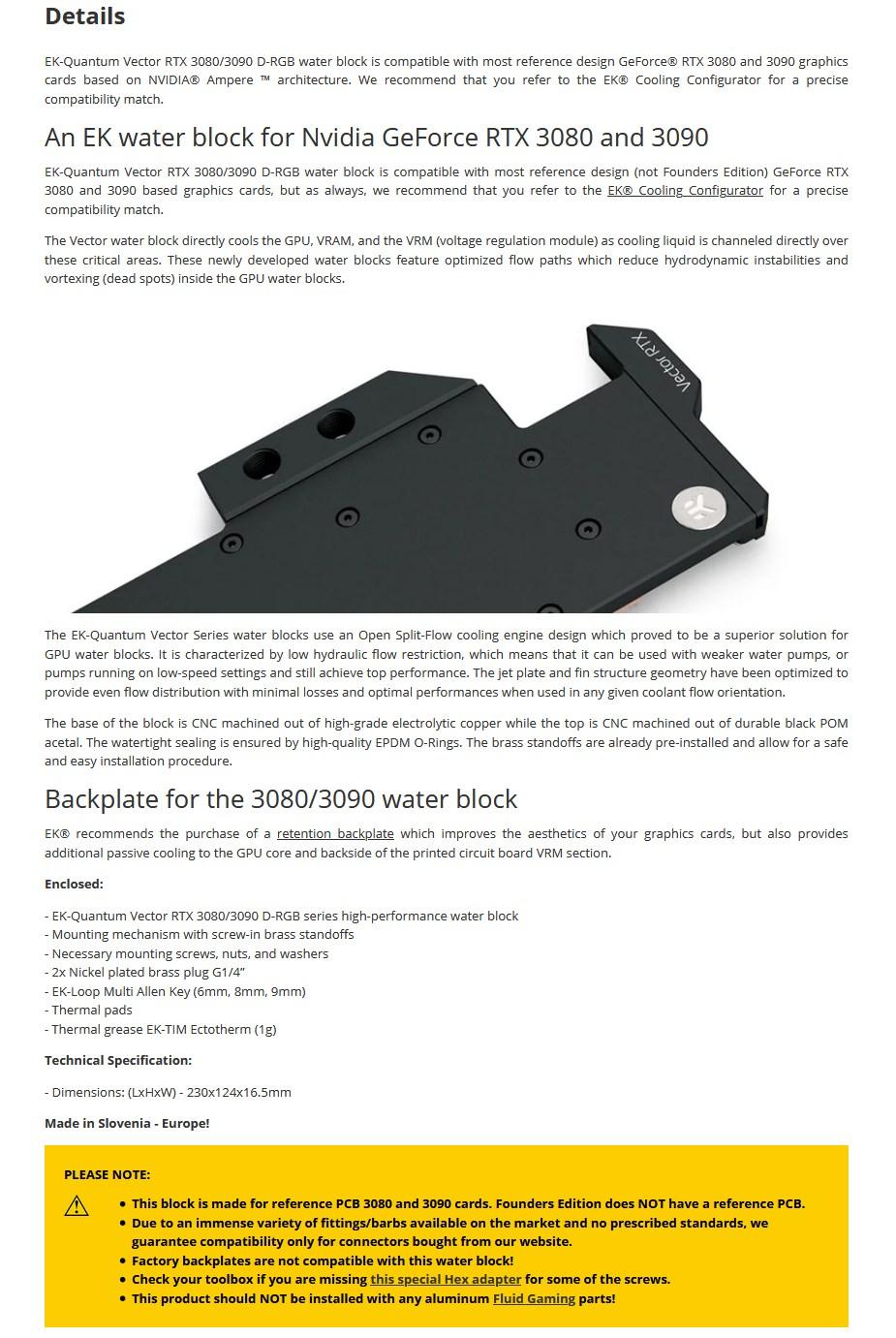 EKWB EK-Quantum Vector RTX 3080/3090 - Copper + Acetal - Overview 1
