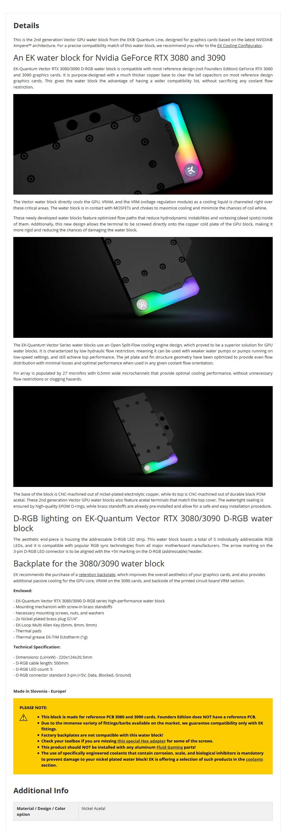 EKWB EK-Quantum Vector RTX 3080/3090 D-RGB - Nickel + Acetal GPU Water Block - Overview 1