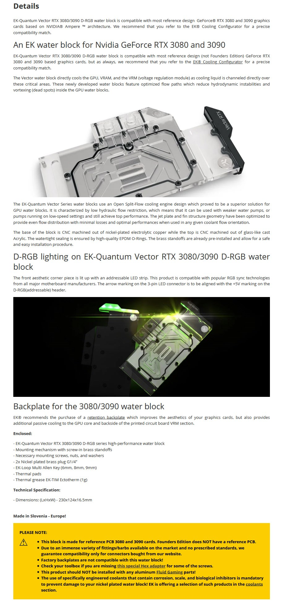 EKWB EK-Quantum Vector RTX 3080/3090 D-RGB - Nickel + Plexi - Overview 1