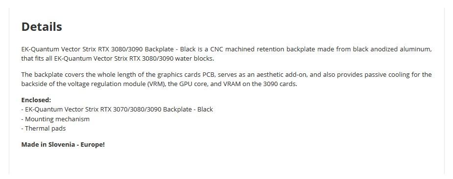 EKWB EK-Quantum Vector Strix RTX 3070/3080/3090 Backplate - Black - Overview 1