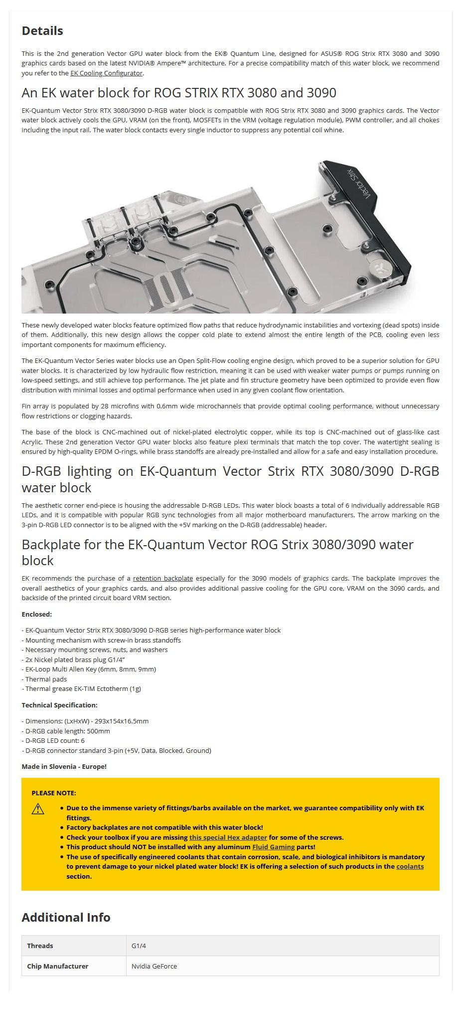 EKWB EK-Quantum Vector Strix RTX 3080/3090 D-RGB Nickel + Plexi GPU Water Block - Overview 1