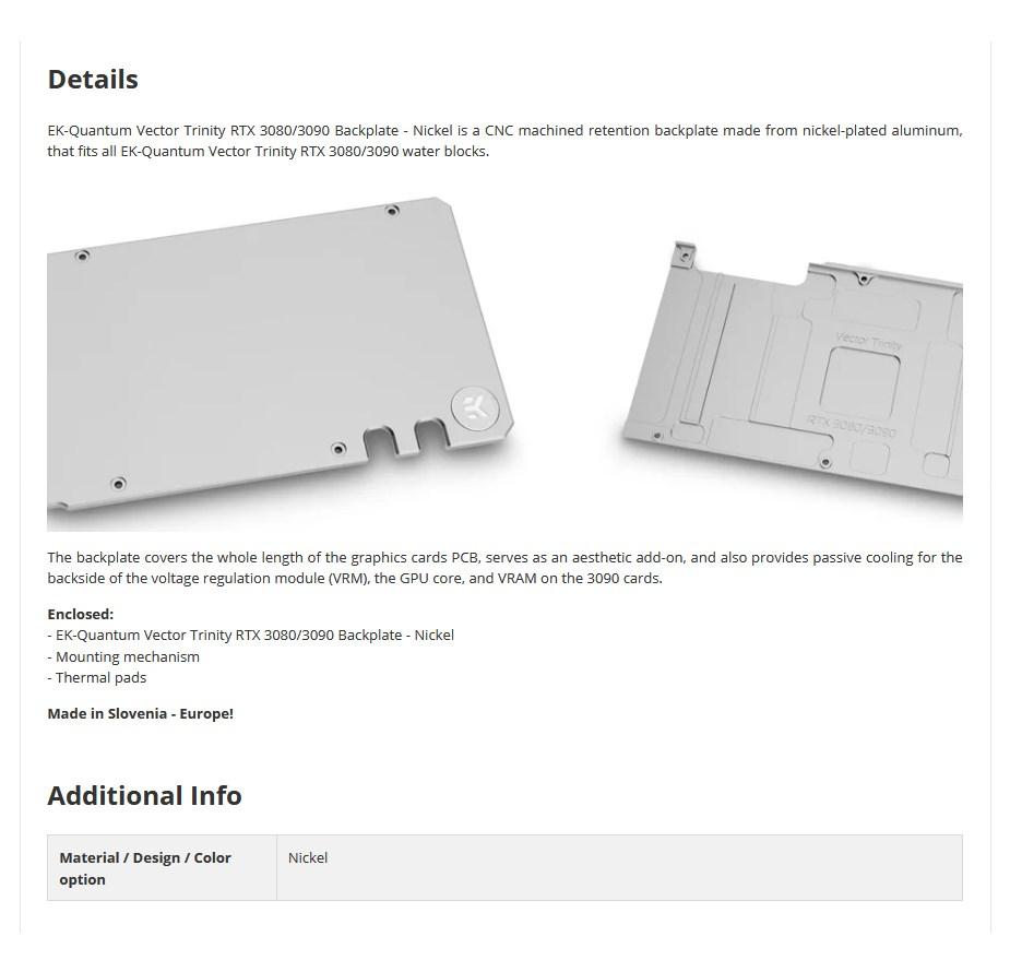 EKWB EK-Quantum Vector Trinity RTX 3080/3090 Backplate - Nickel - Overview 1