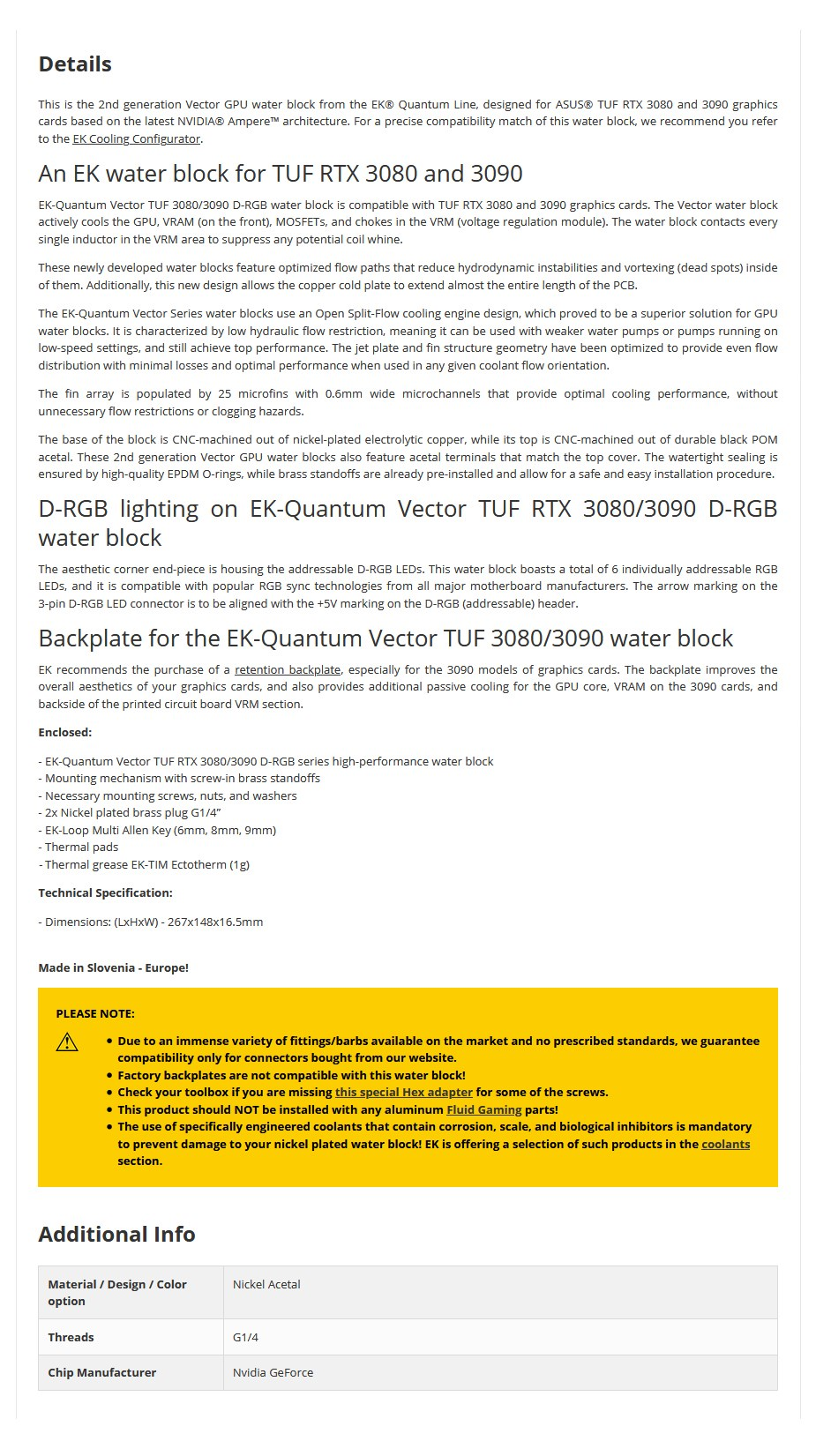 EKWB EK-Quantum Vector TUF RTX 3080/3090 D-RGB - Nickel + Acetal GPU Water Block - Overview 1