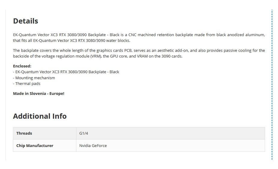 EKWB EK-Quantum Vector XC3 RTX 3080/3090 Backplate - Black - Overview 1