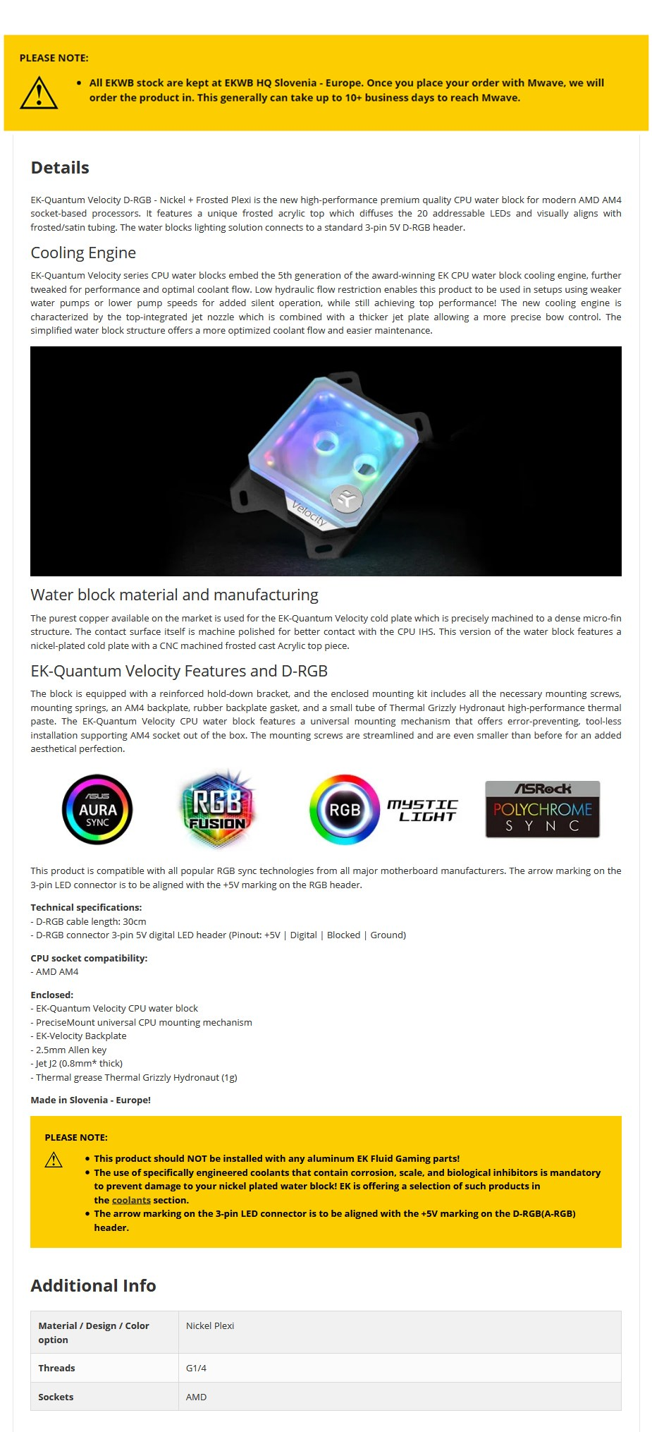 EKWB EK-Quantum Velocity D-RGB CPU Waterblock Nickel + Frosted Plexi - AMD - Overview 1