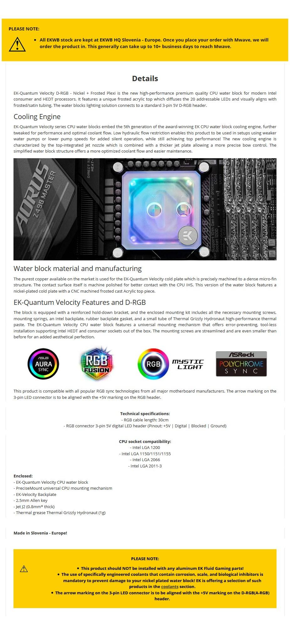 EKWB EK-Quantum Velocity D-RGB CPU Waterblock Nickel + Frosted Plexi - Intel - Overview 1