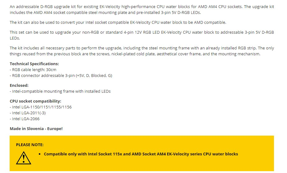 EKWB EK-Quantum Velocity D-RGB Mounting Plate - AMD Black - Overview 1