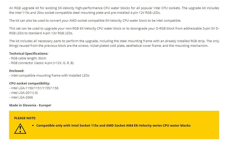 EKWB EK-Quantum Velocity RGB Mounting Plate - Intel Black - Overview 1