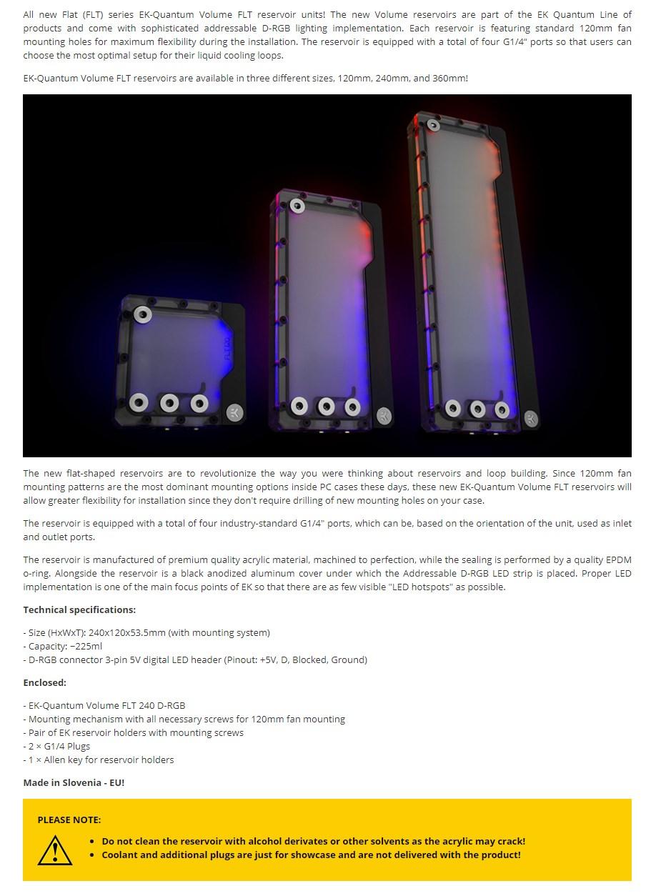 EKWB EK-Quantum Volume FLT 240 D-RGB - Plexi Reservoir - Overview 1