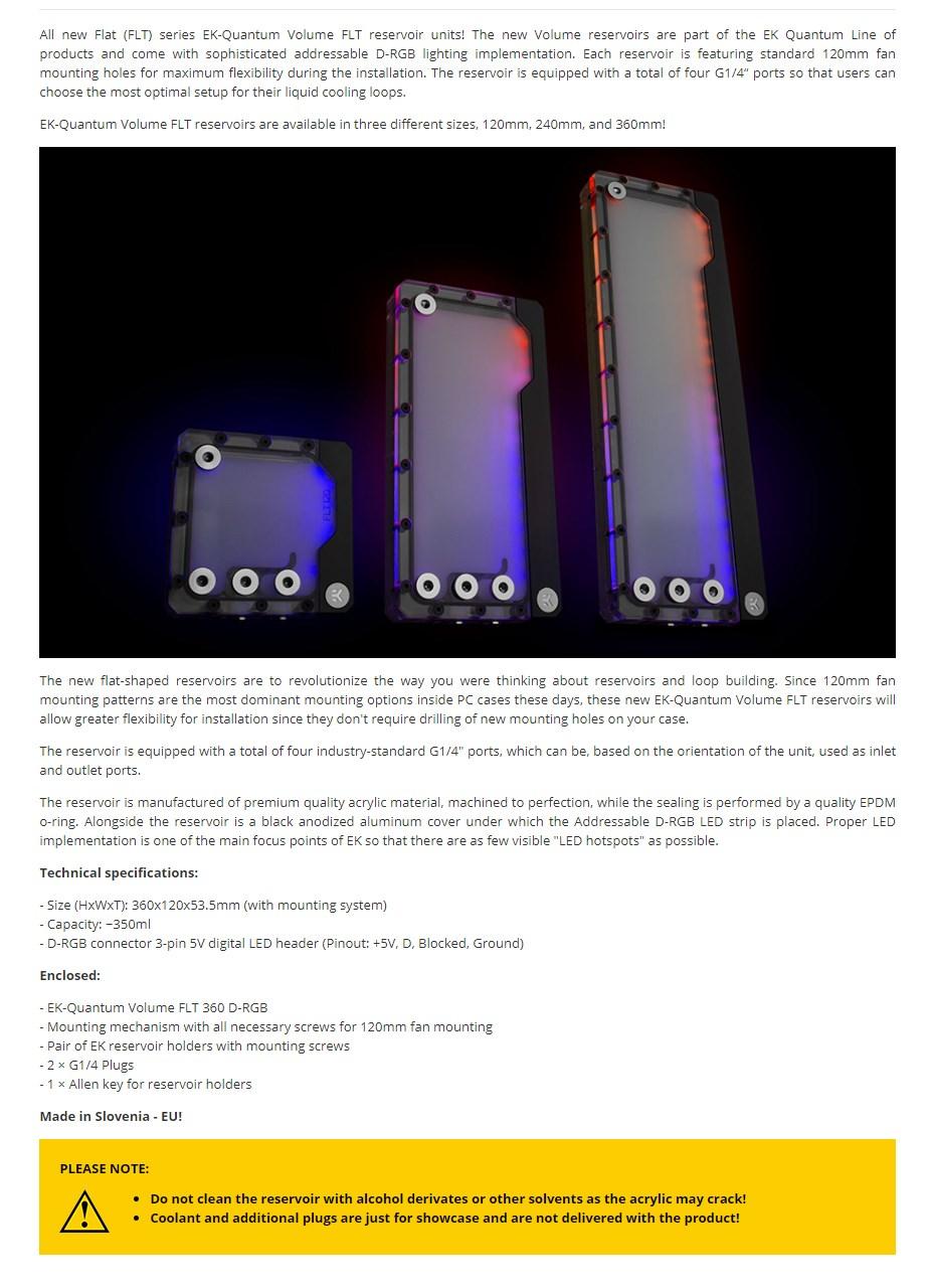 EKWB EK-Quantum Volume FLT 360 D-RGB Plexi Reservoir - Overview 1