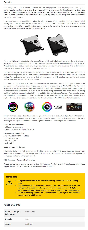 EKWB EK-Velocity Strike RGB CPU Waterblock for Intel/AMD - Black Nickel - Overview 1