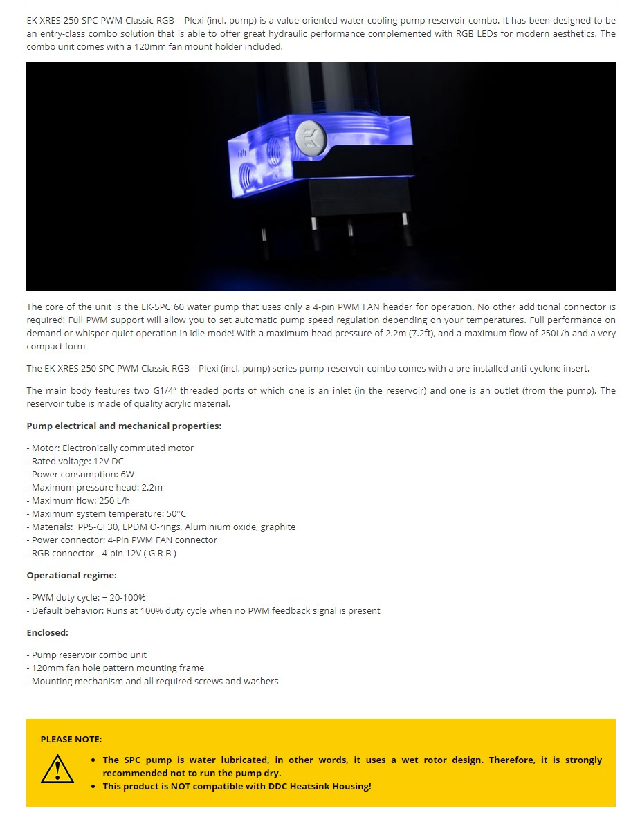 EKWB EK-XRES 250 SPC PWM Classic RGB Plexi Reservoir Pump Combo - Overview 1
