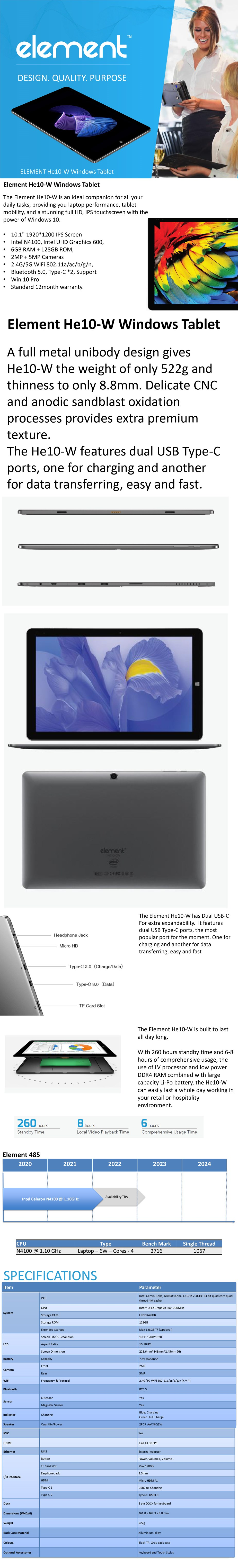 """Element HE10-W 10.1"""" N4100 6GB 128GB W10P - Overview 1"""