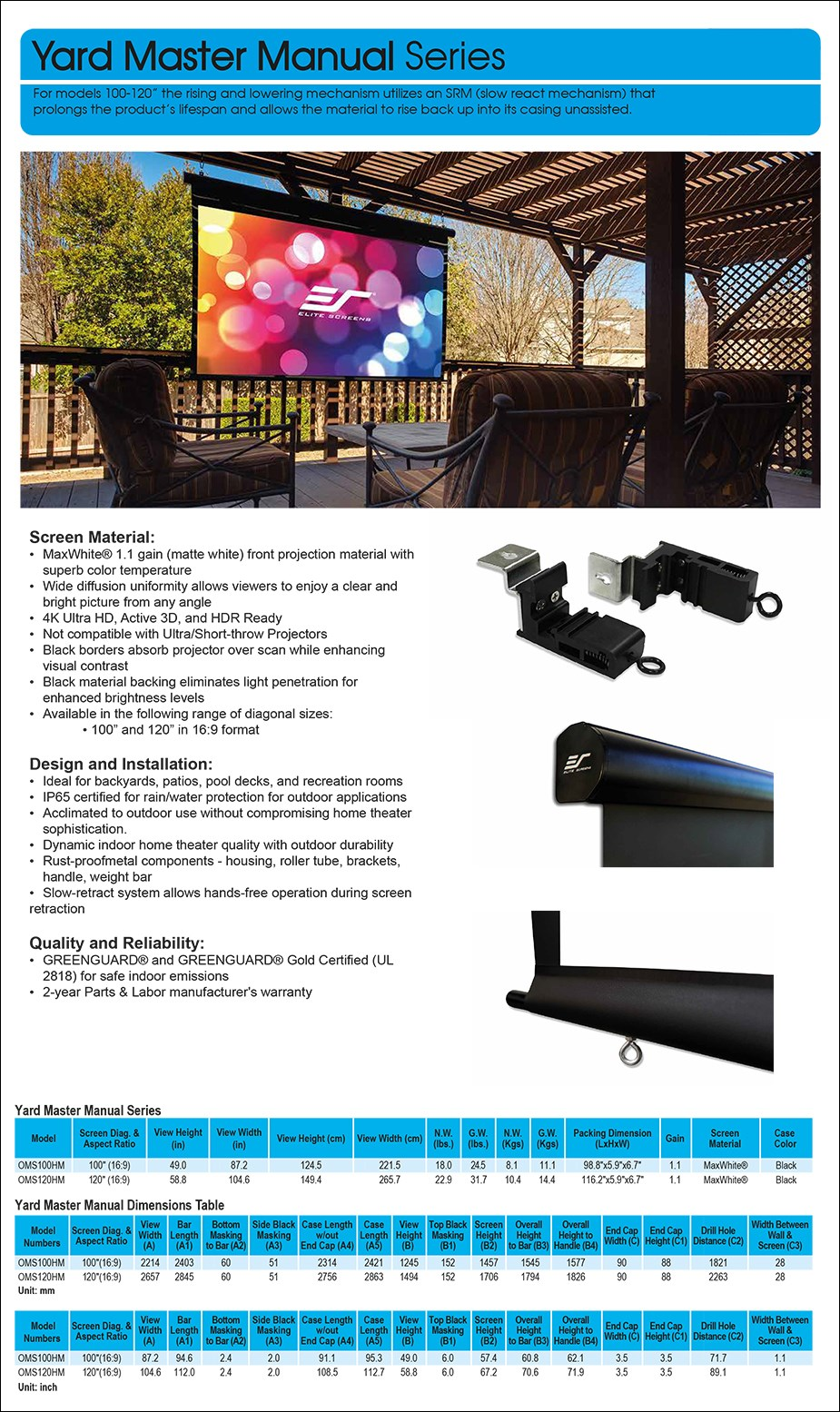 """Elite Screen 120"""" 16:9 Yard Master Manual Outdoor Pulldown Projection Screen - Overview 1"""