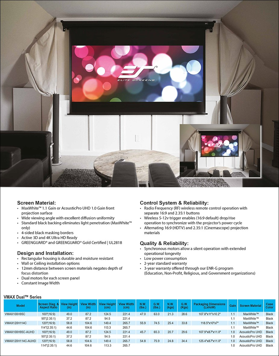 "Elite Screens 120""/114"" 16:9/2.35:1 VMAX Dual Aspect Ratio Projection Screen - Overview 1"