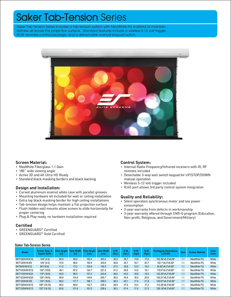 """Elite Screens 120"""" 16:9 Saker Tab Tension Motorized Projection Screen - Overview 1"""