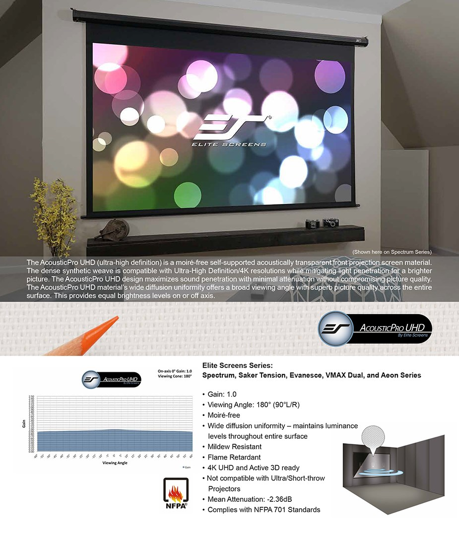 "Elite Screens 100"" 16:9 Spectrum AcousticPro UHD Motorized Projection Screen - Overview 1"