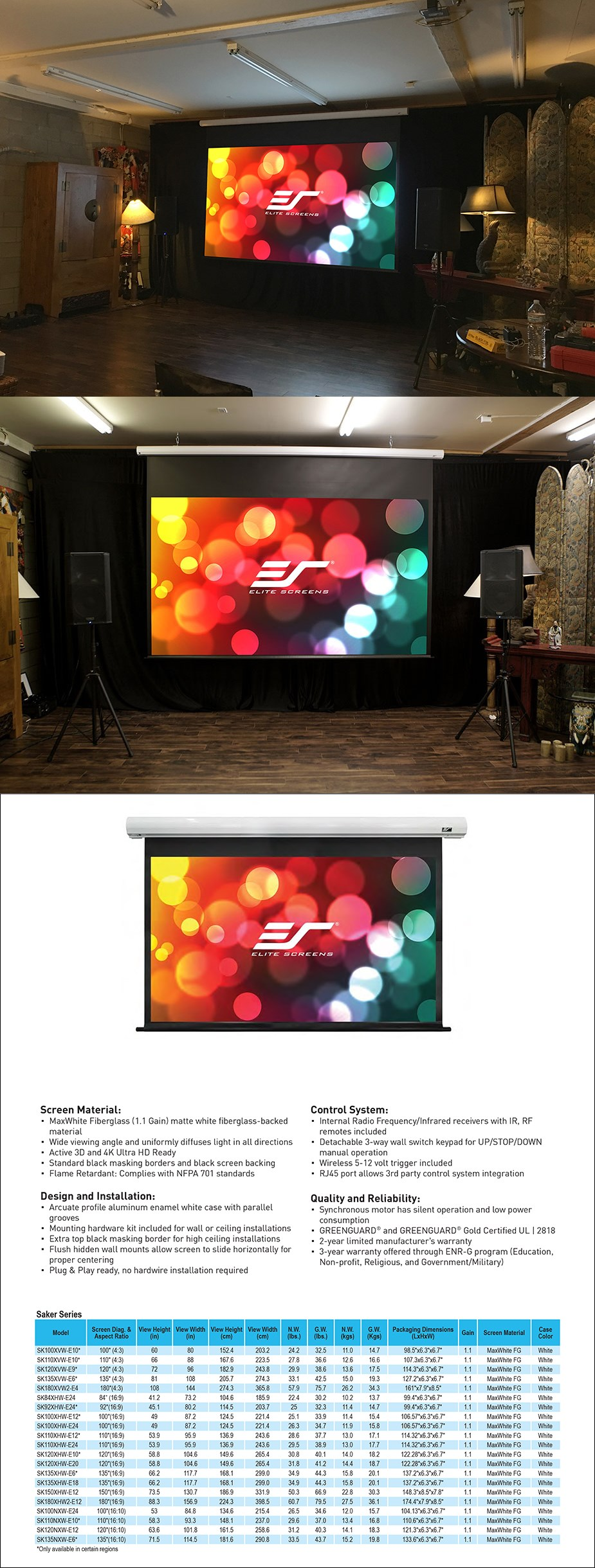 Elite Screens Saker Motorized Projection Screen - Overview 1