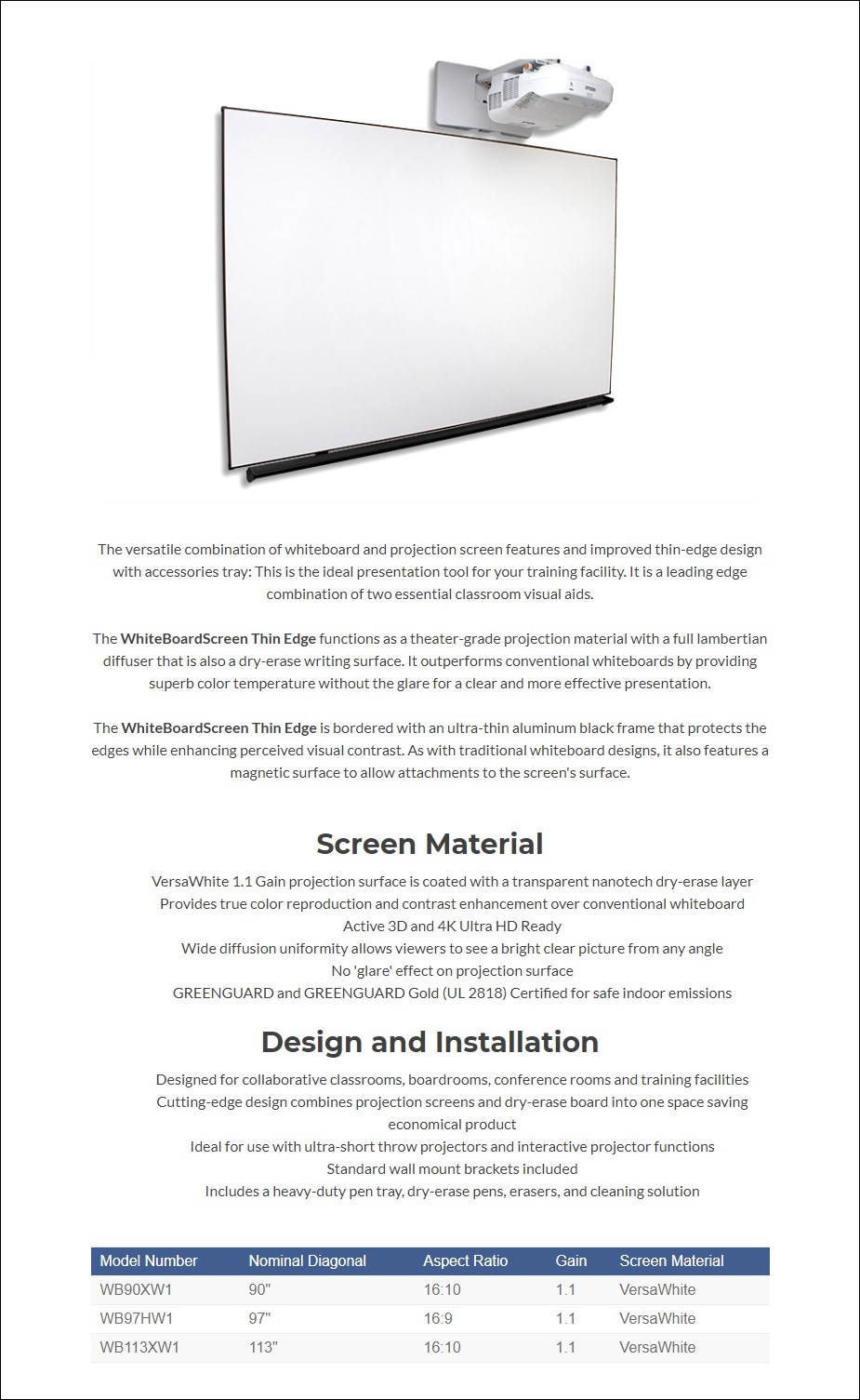 Elite Screens Whiteboard Thin-Edge Projection Screen - Overview 1