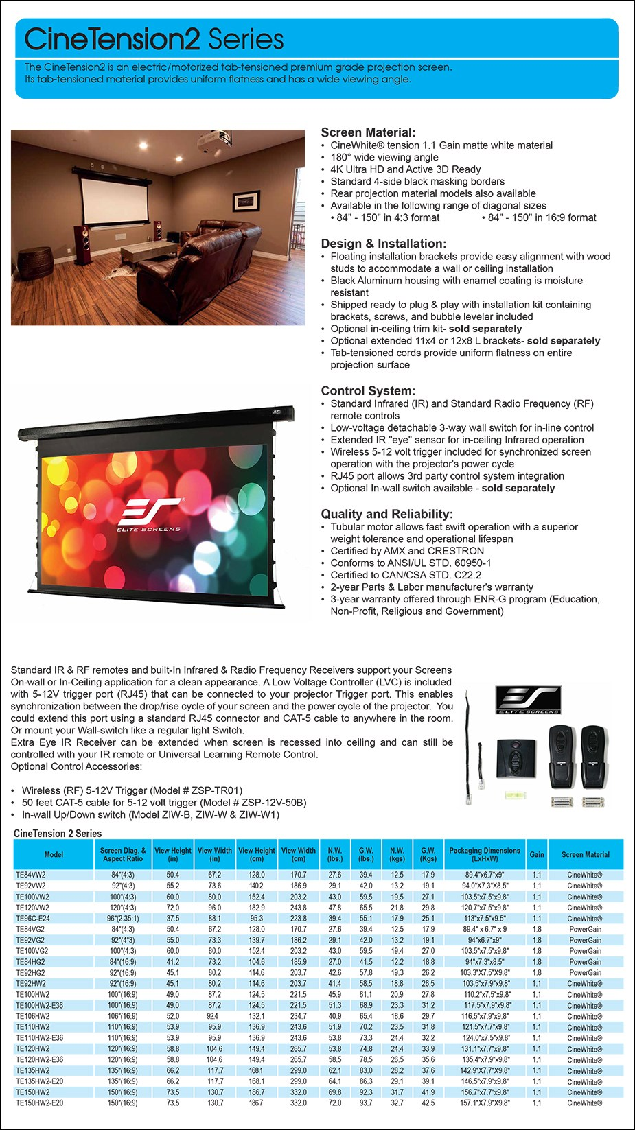 "Elite Screens 100"" 16:9 CineTension 2 CineWhite Projection Screen - Overview 1"