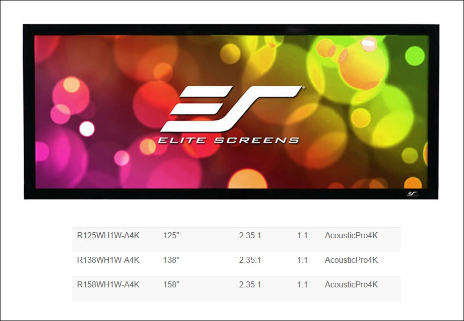 """Elite Screens Cinema235 Acoustic4K 158"""" 2.35:1 Wide Fixed Projection Screen - Overview 1"""