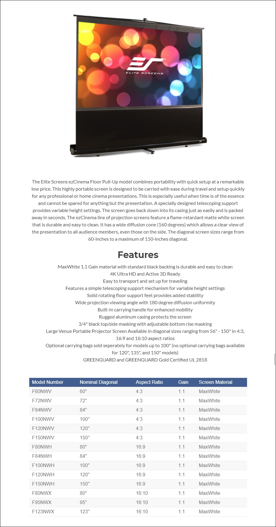 Elite Screens ezCinema Floor Pull-up Projection Screen - Overview 1