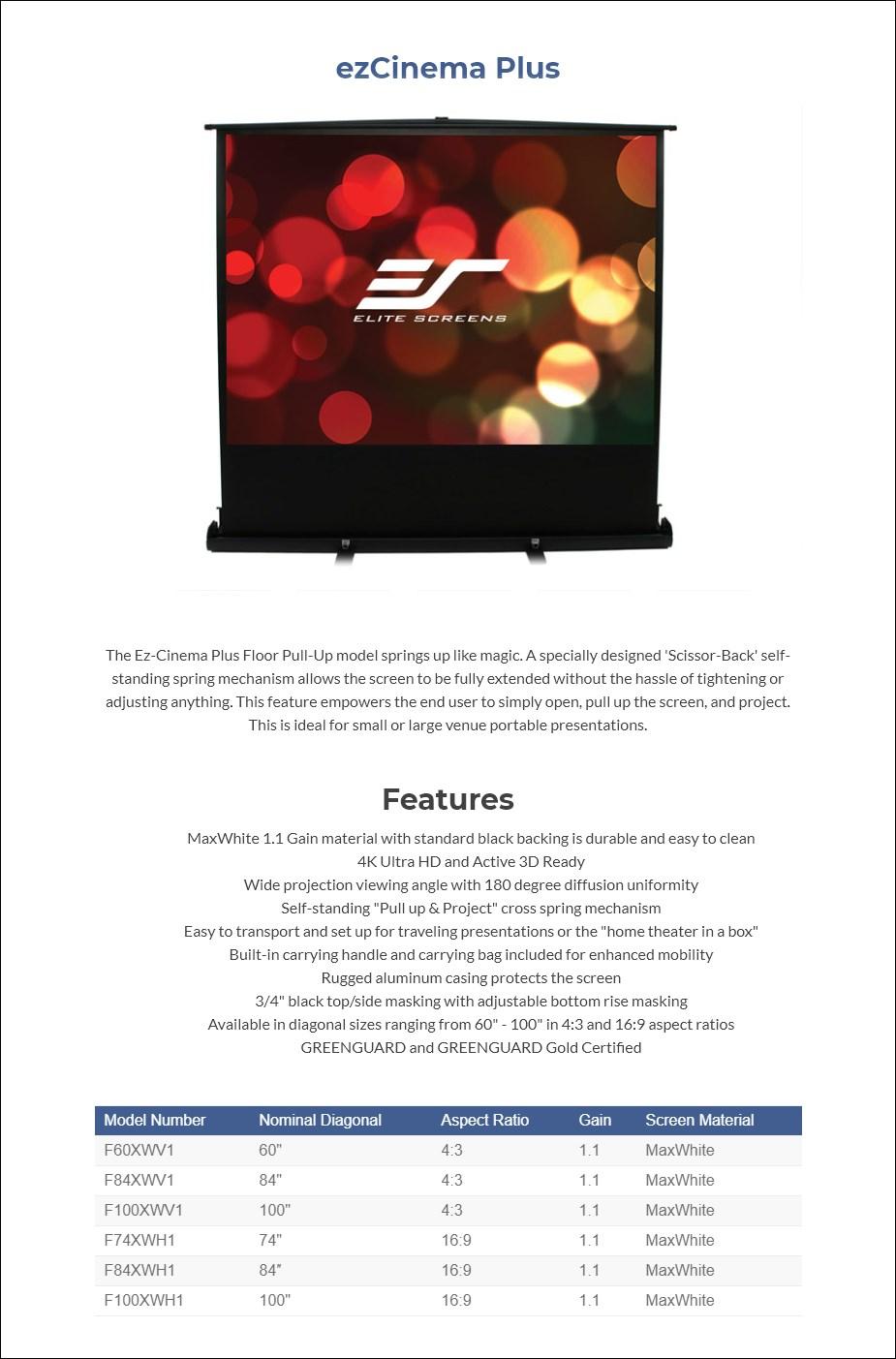 Elite Screens ezCinema Plus Floor Pull-up Projection Screen - Overview 1