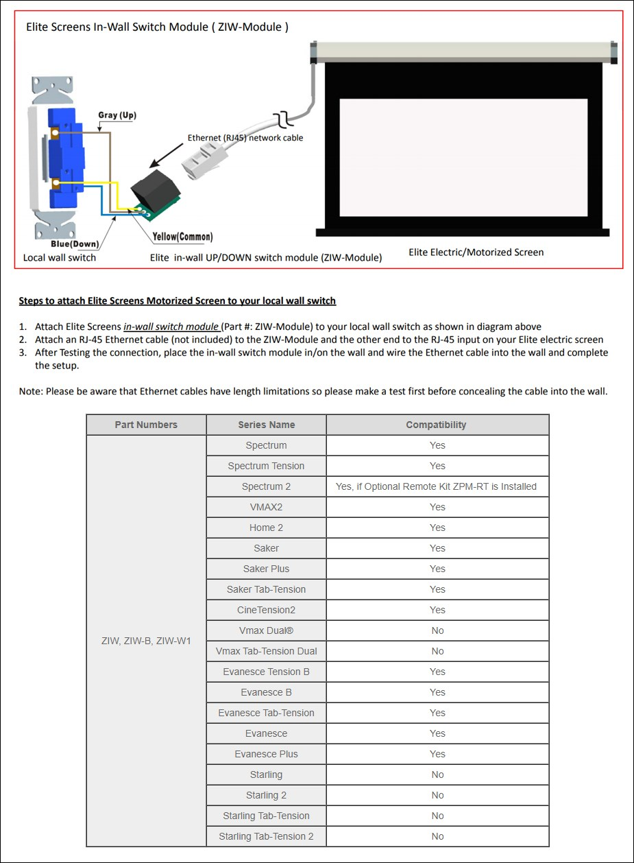 Elite Screens In-Wall RJ45 Switch Module - Overview 1