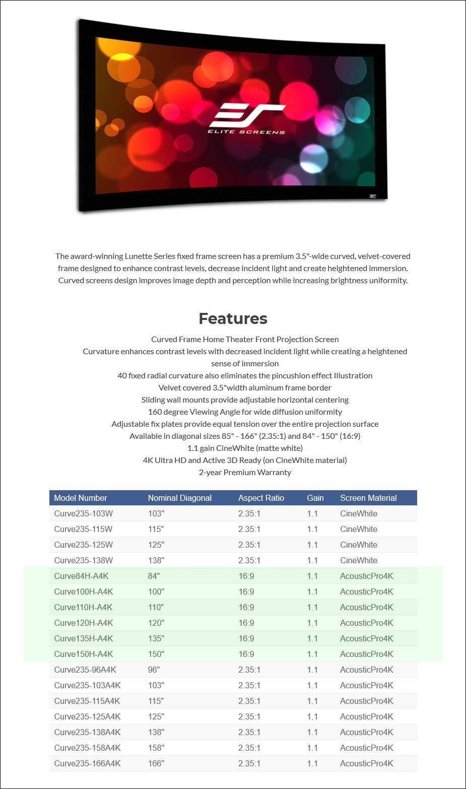 Elite Screens Lunette235 Acoustic4K 2.35:1 Curved Fixed Projection Screen - Overview 1