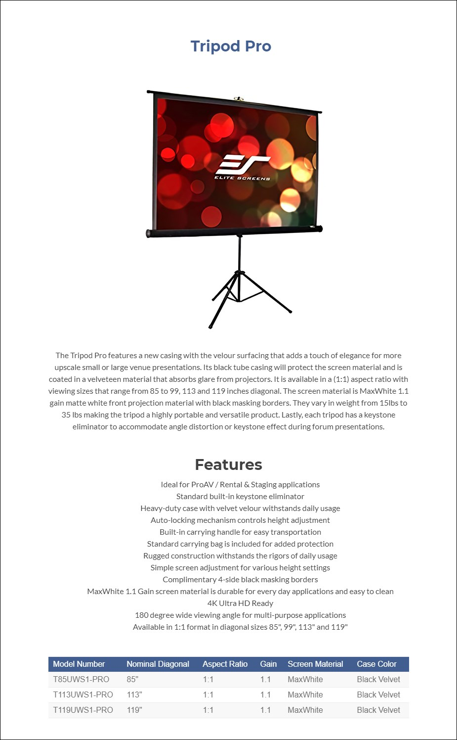"Elite Screens Tripod Pro 85"" 1:1 Self-Supported Portable Projection Screen - Overview 1"