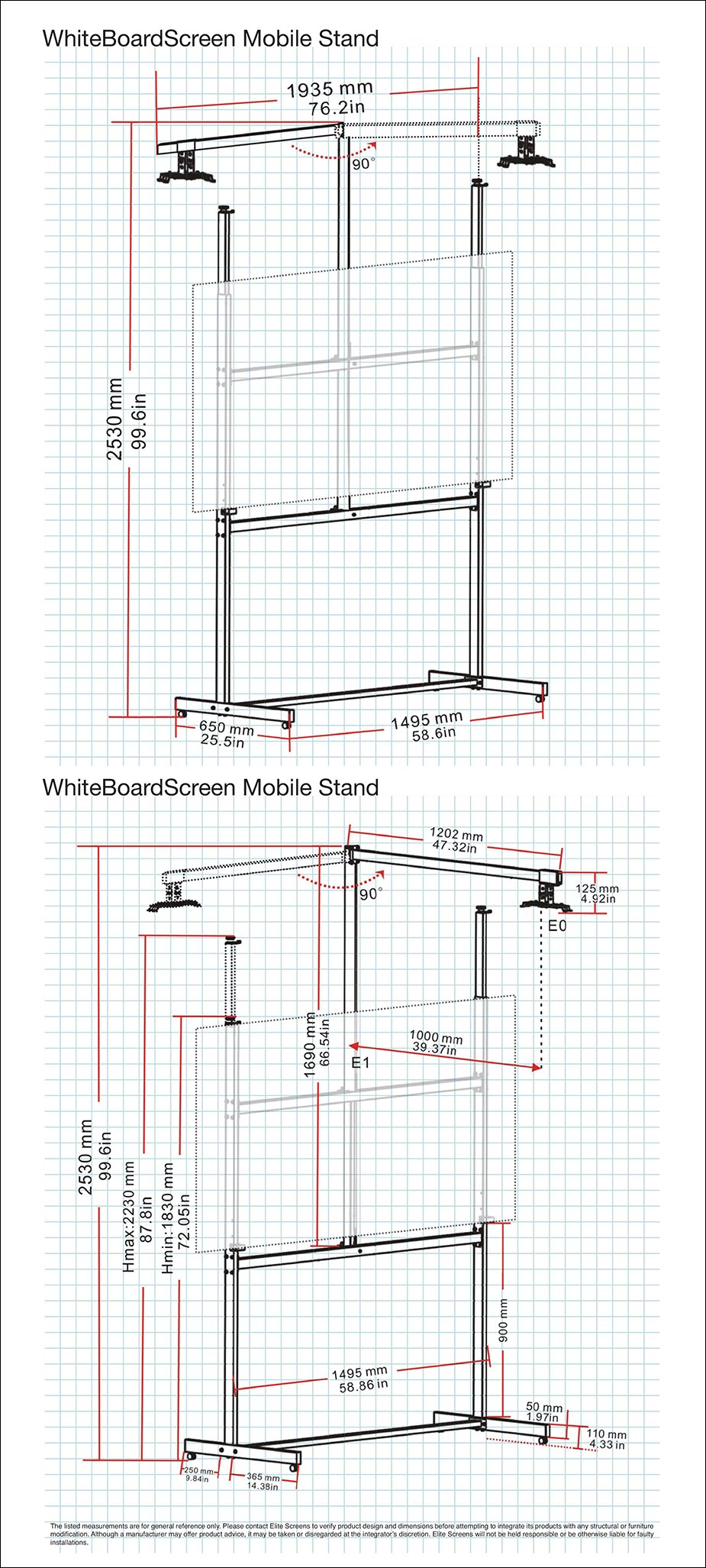 Elite Screens Whiteboard Screen Universal Mobile Stand - Overview 1