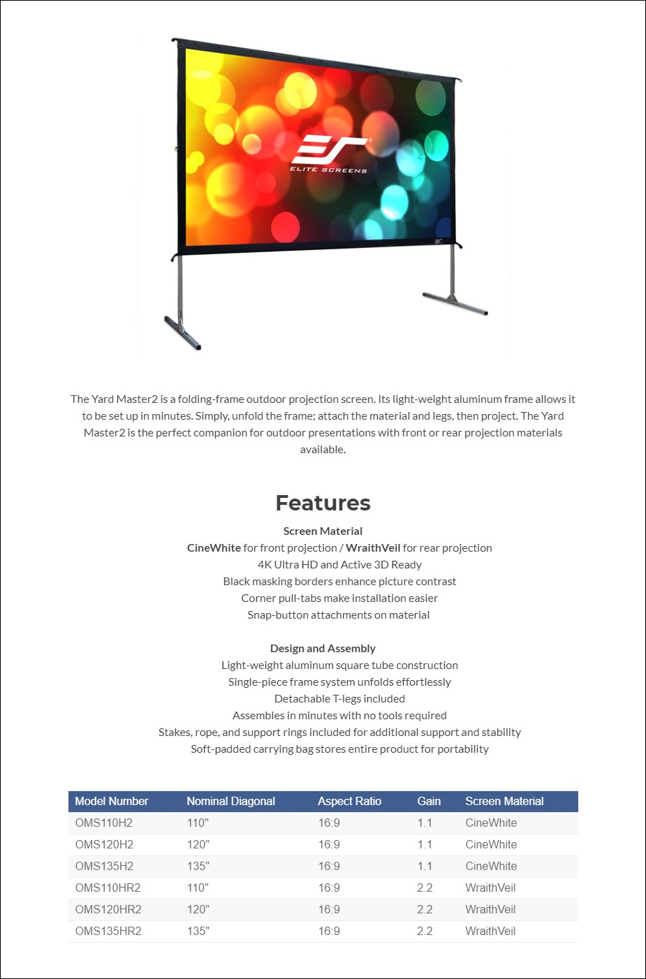 Elite Screens Yard Master 2 Outdoor Front Projection Screen - Overview 1