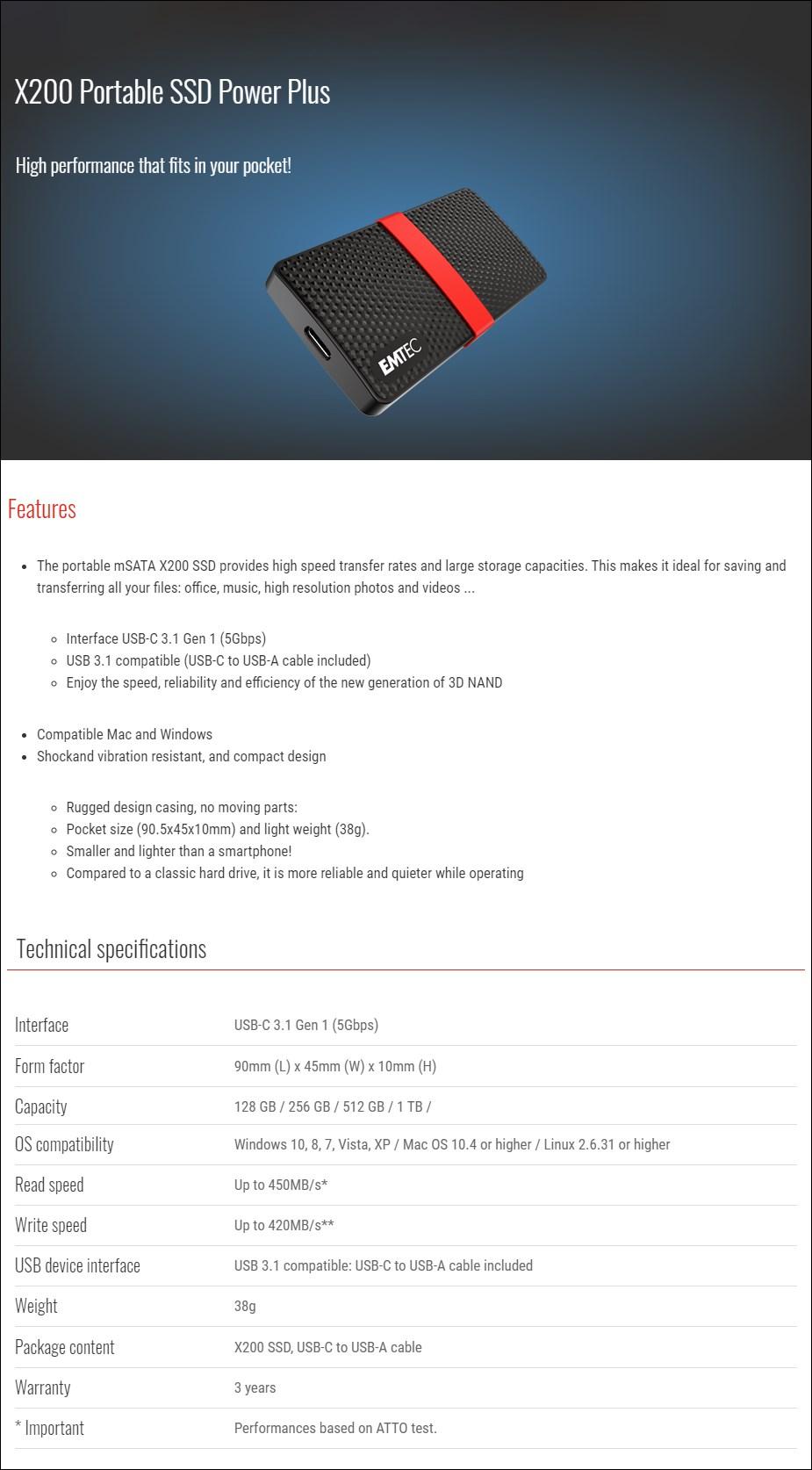 Emtec X200 Power Plus 1TB USB-C Portable SSD - Overview 1
