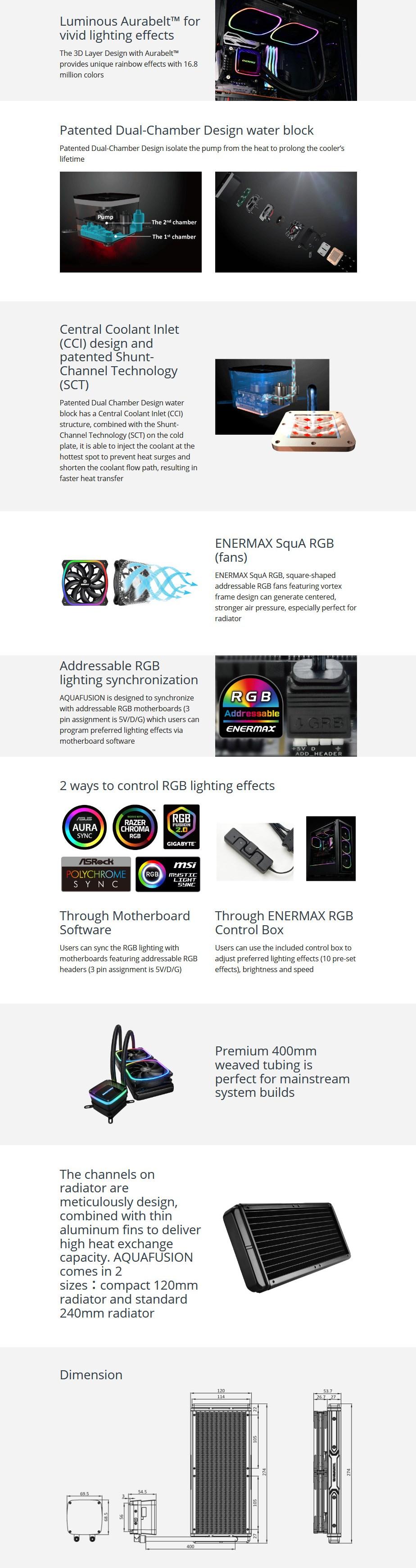 Enermax AQUAFUSION 240 RGB Liquid CPU Cooler - Overview 1