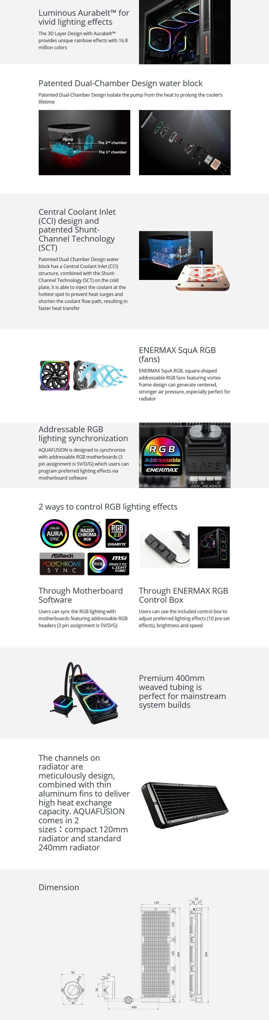 Enermax AQUAFUSION 360 RGB Liquid CPU Cooler - Overview 1