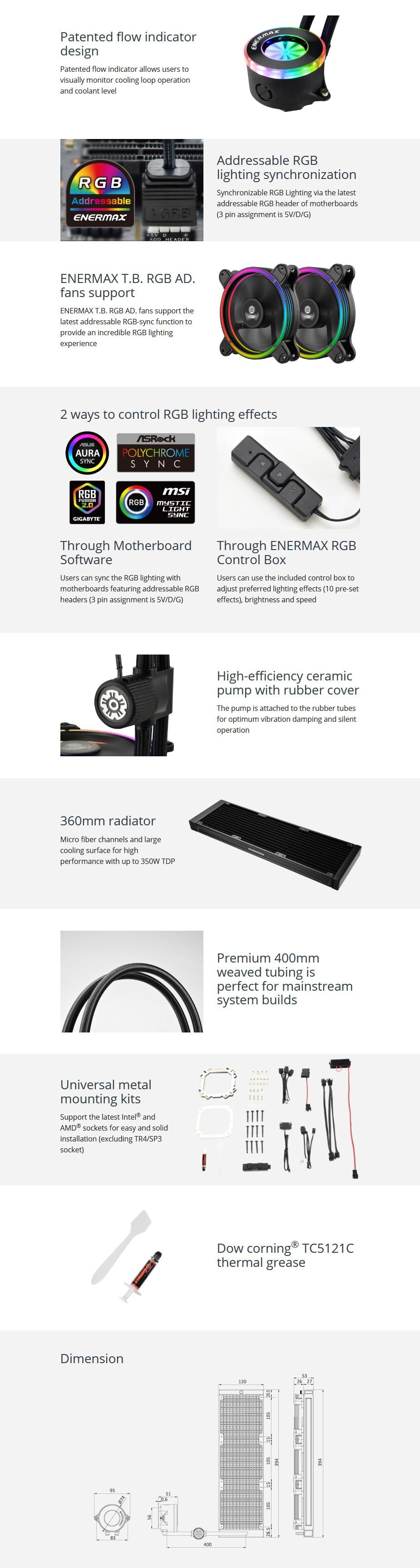Enermax LIQFUSION 360 RGB Liquid CPU Cooler - Overview 1