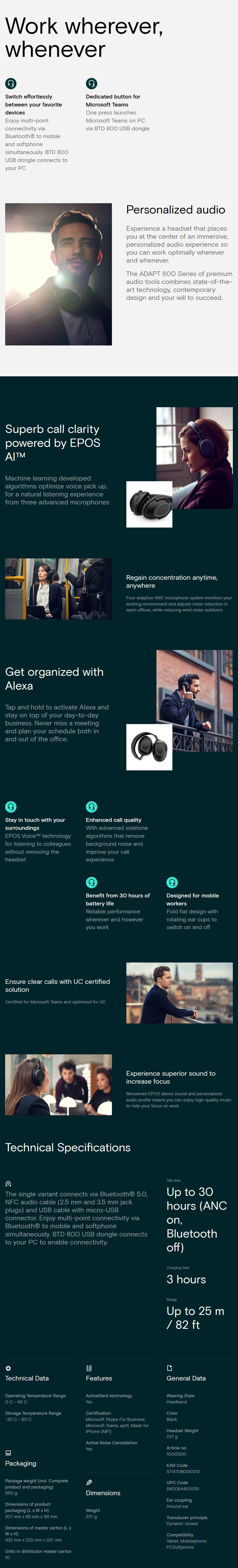 EPOS Sennheiser ADAPT 660 Over Ear Closed Back Wireless Headset - Overview 1