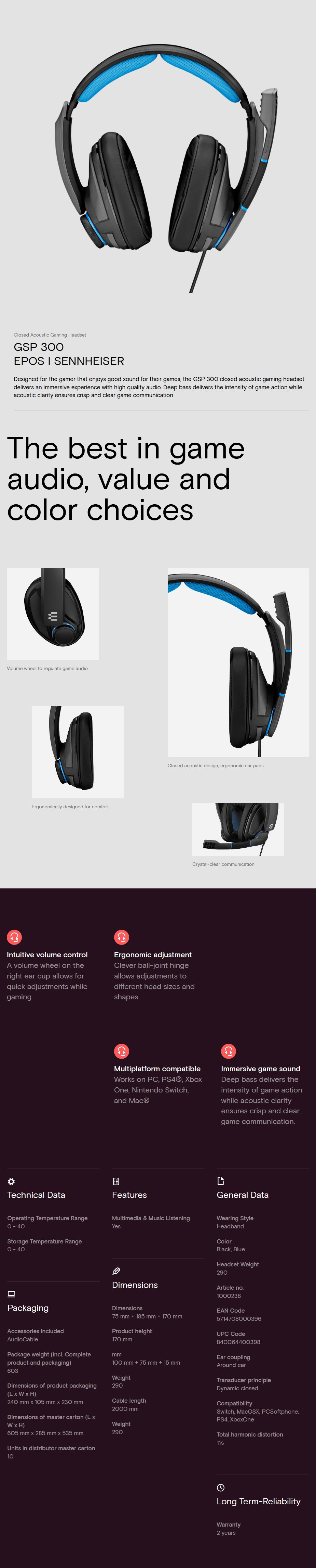 EPOS Sennheiser GSP 300 Closed Back Gaming Headset - Desktop Overview 1
