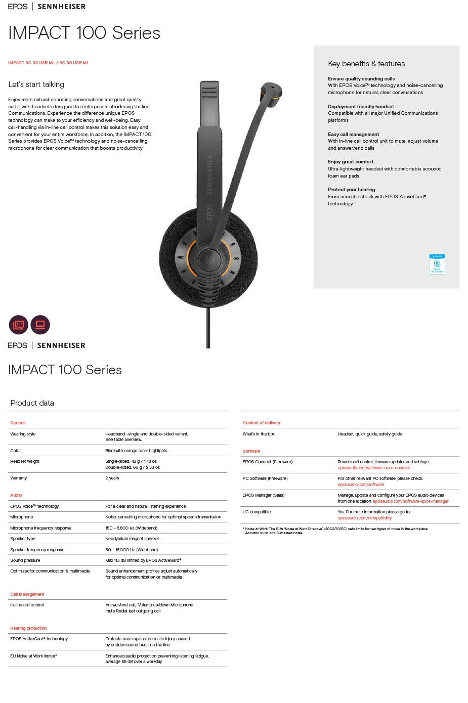 EPOS Sennheiser SC 60 ML Stereo USB Headset - Overview 1