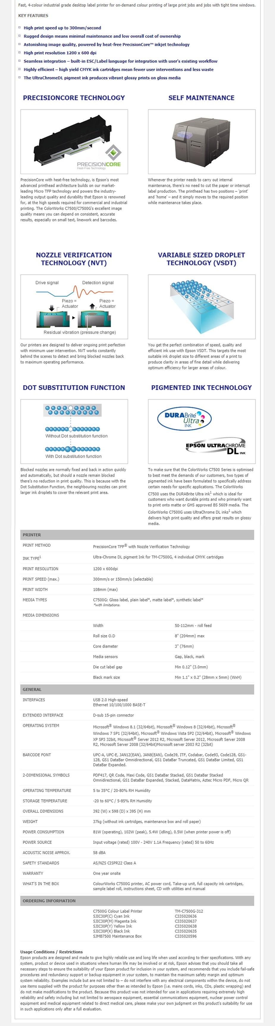 Epson ColorWorks C7500G Desktop Colour Inkjet Label Printer - Overview 1