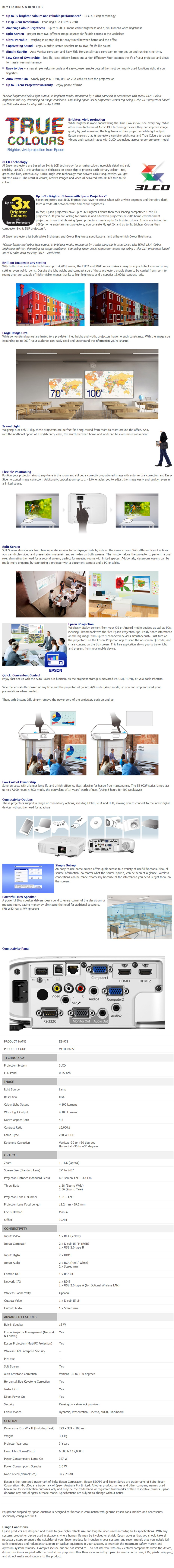 Epson EB-972 XGA 3LCD Corporate Portable Multimedia Projector - Overview 1