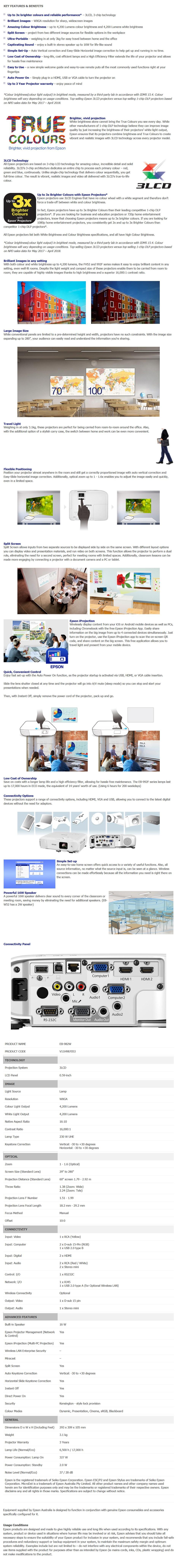 Epson EB-982W WXGA 3LCD Corporate Portable Multimedia Projector - Overview 1
