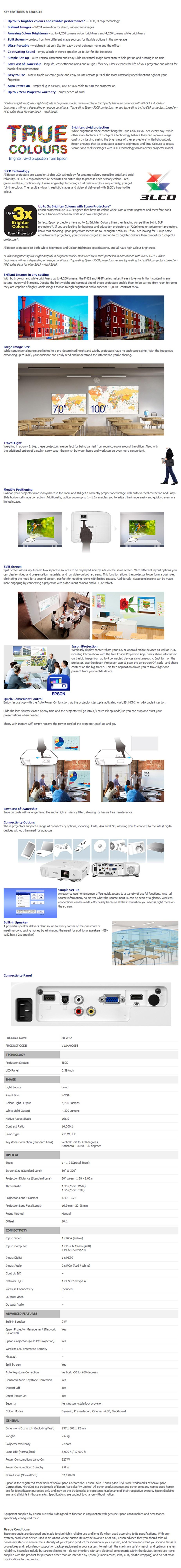 Epson EB-W52 WXGA 3LCD Corporate Portable Multimedia Projector - Overview 1