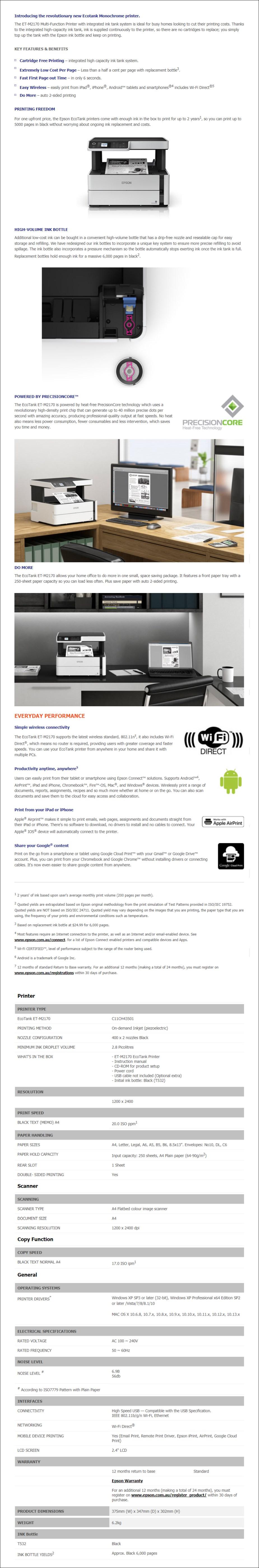 Epson EcoTank ET-M2170 Monochrome A4 Multifunction Wireless Inkjet Printer - Overview 1