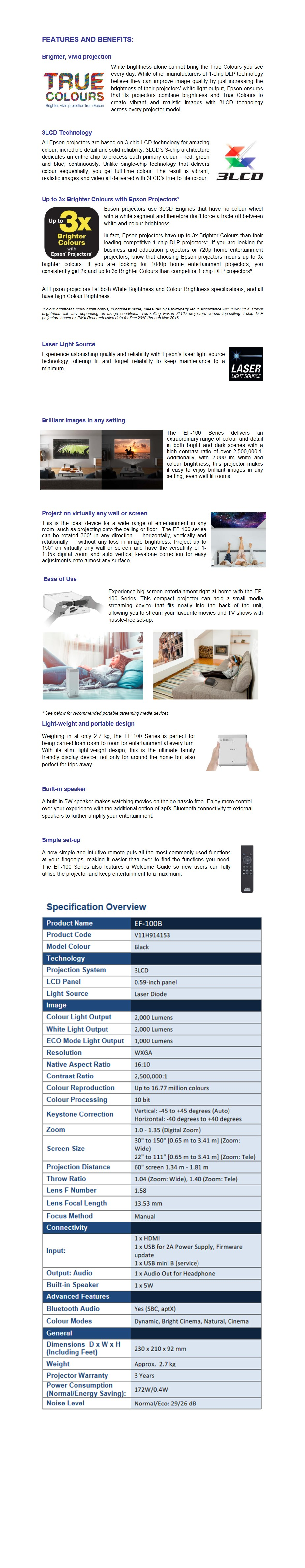 Epson EF-100B WXGA Portable Home Entertainment Projector - Black - Desktop Overview 1