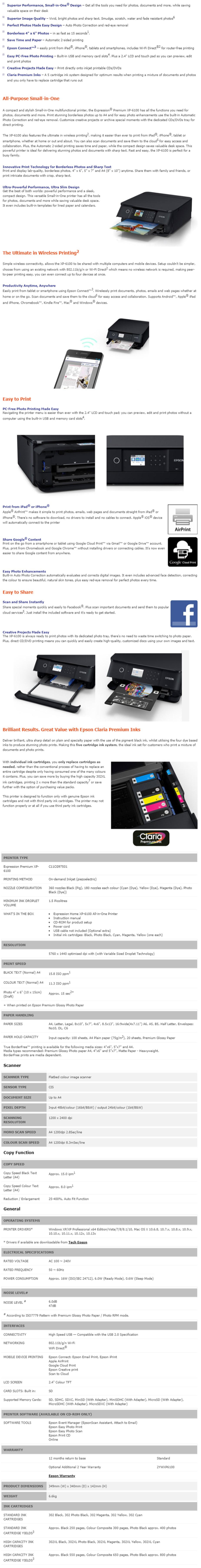 Epson Expression Premium XP-6100 Colour Multifunction Inkjet Printer - Overview 1